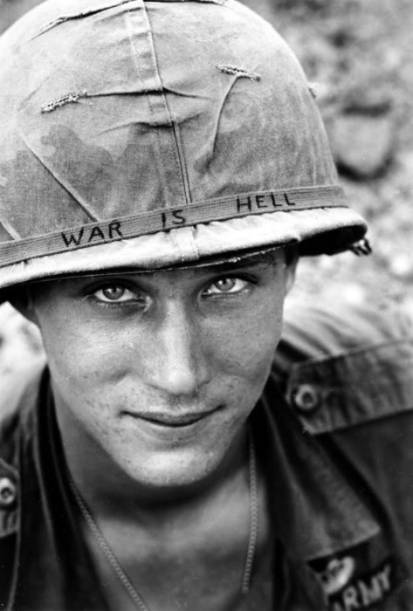 American Soldier during Vietnam War Wearing a Helmet in Protest