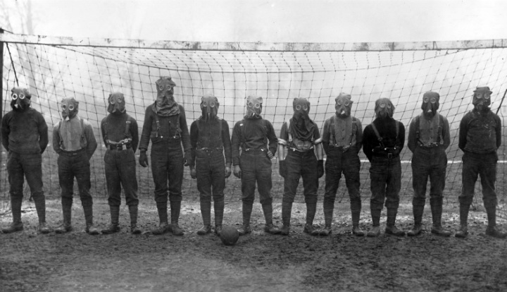 British Soldiers Playing Soccer During WWI