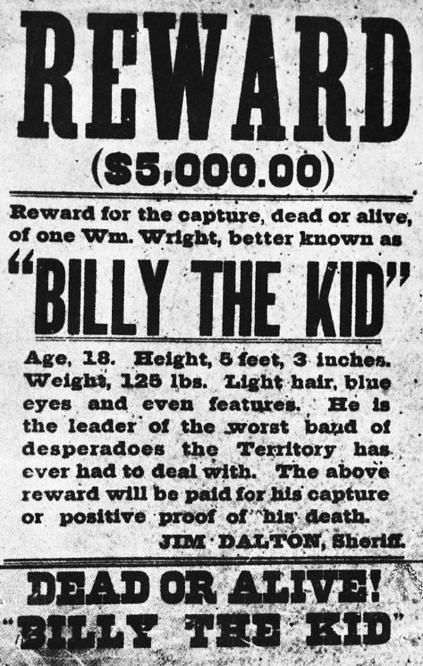 Billy the kid wanted dead or alive