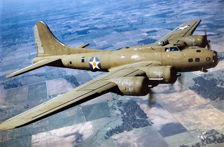 B-17 bomber in the air