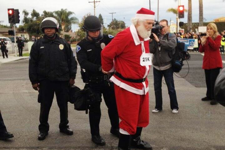 black friday protests santa claus