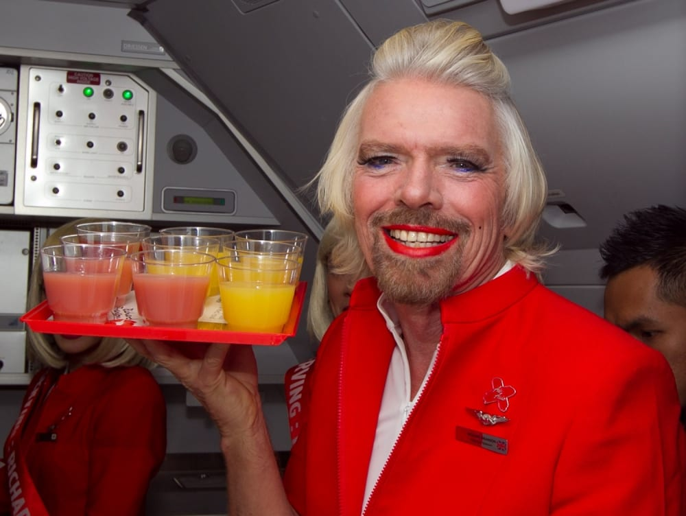 richard branson stewardess air travel