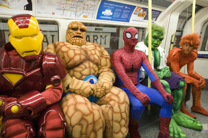 avengers spiderman london tube underground subway cosplay