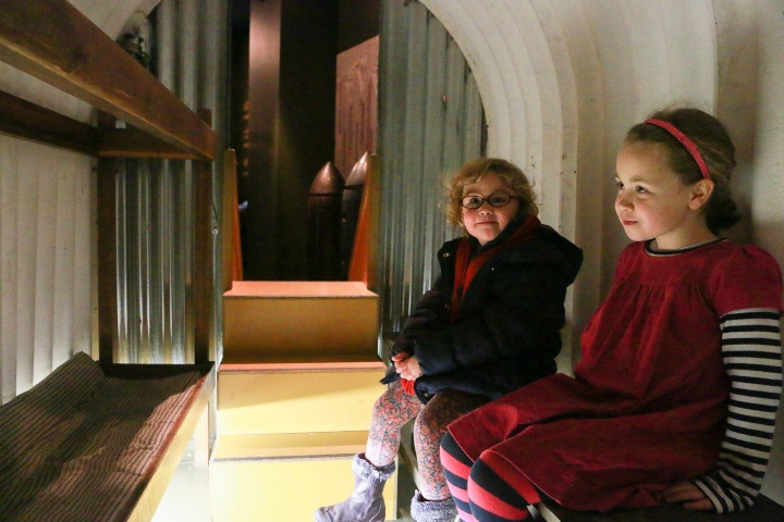 sitting in anderson shelter