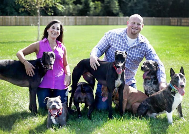 Chris and Mariesa and Their Eight Dogs