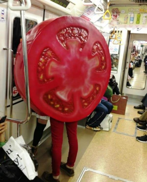tomato person subway moments riders cosplay