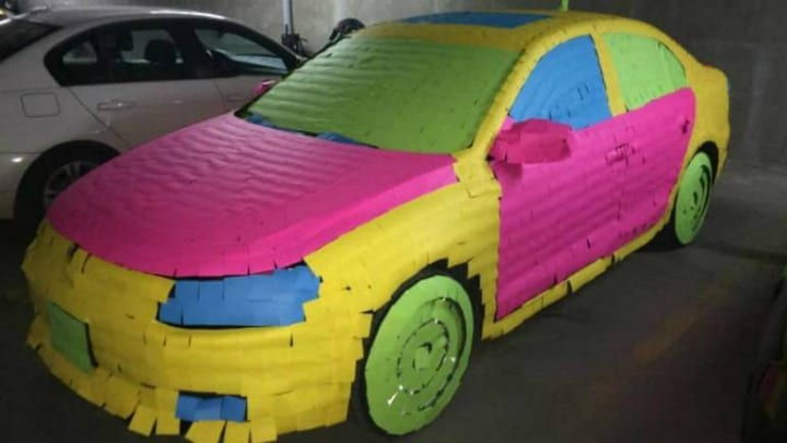 car post-it note roommate prank