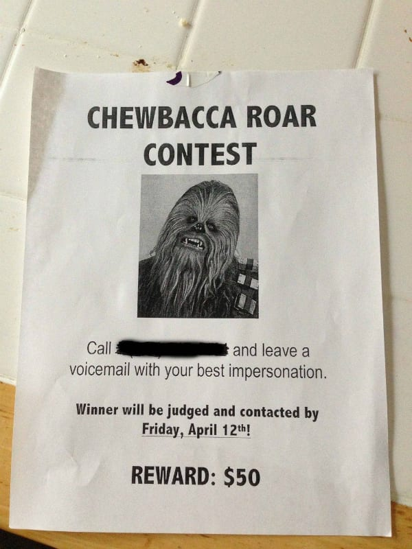 chewbacca star wars roommate prank