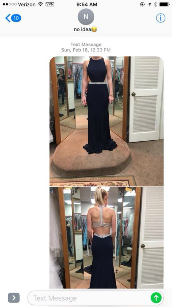 woman in dress - wrong number text