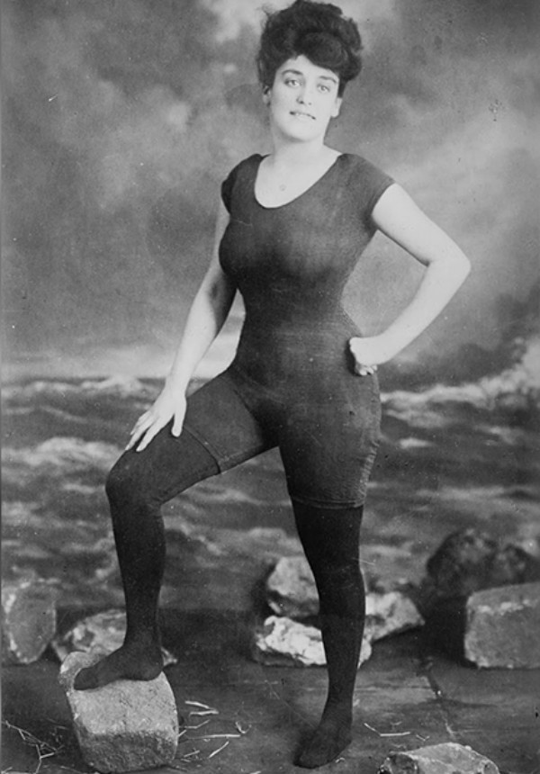 Woman in 1900s Bathing Suit