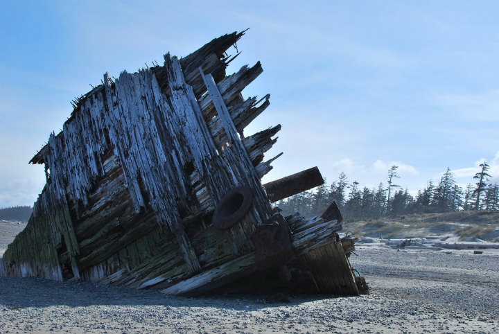 shipwreck british columbia washed ashore beach