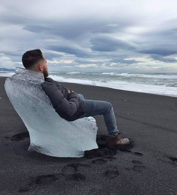 iceland ice chair washed ashore beach