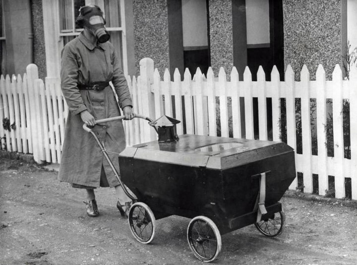 pram stroller gas mask world war ii two futuristic inventions