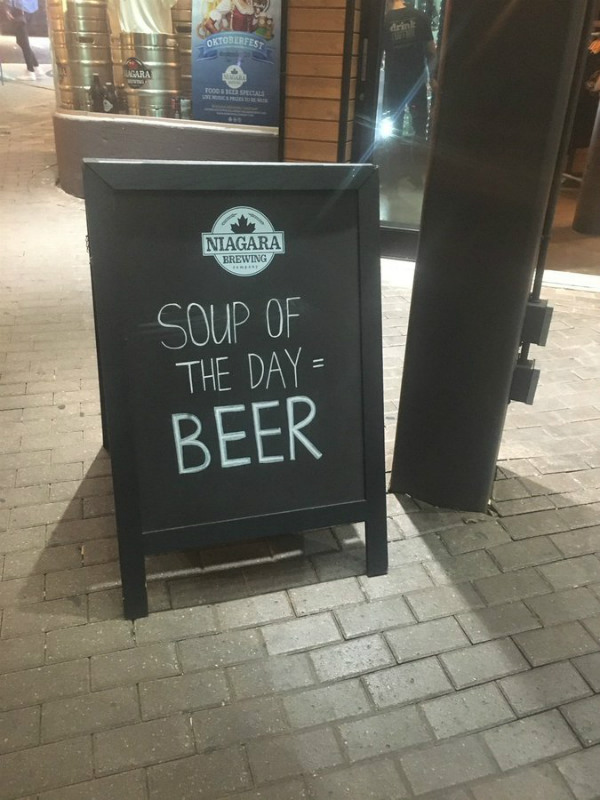 soup and beer sign