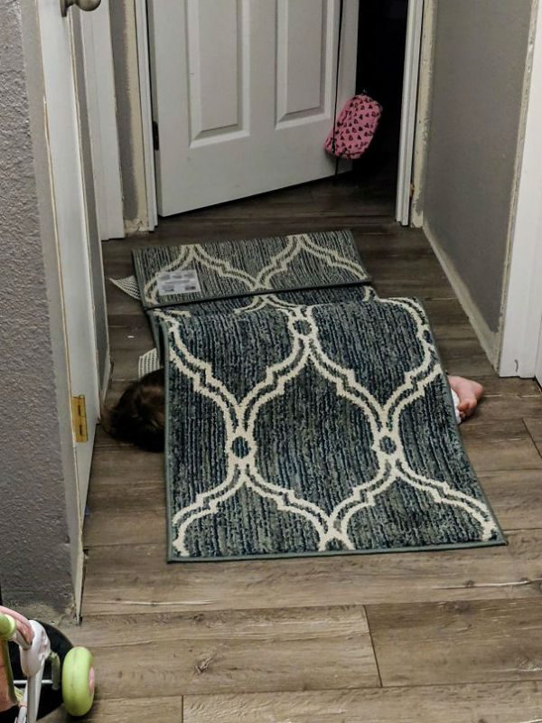 carpet hiding hilarious kids