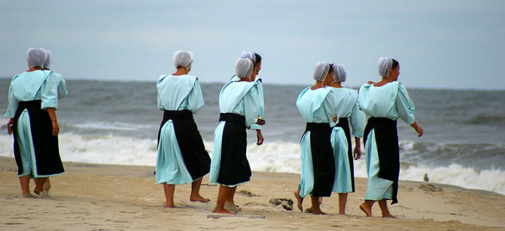 Amish women on beach