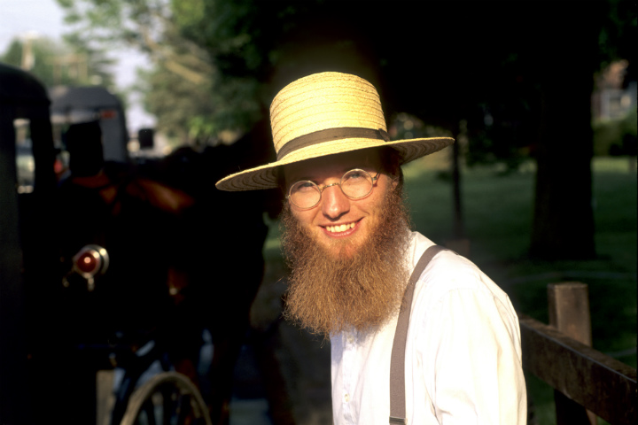 Amish man smiling