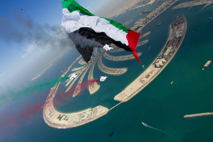 skydiving uae dubai flag guinness world record