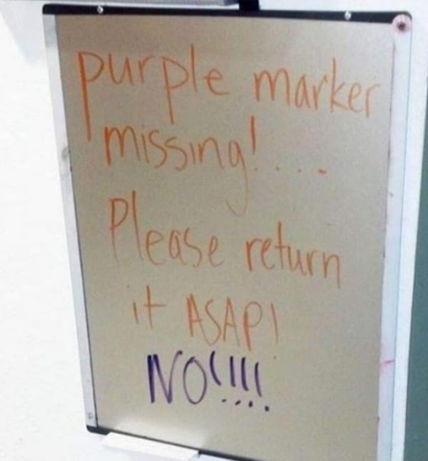 purple marker office pranks