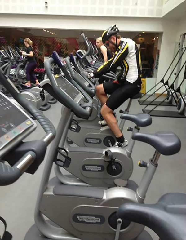 cyclist bicycle gym moments
