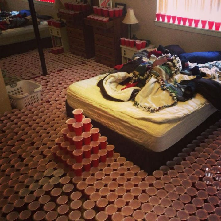 epic pranks bedroom bed cups room