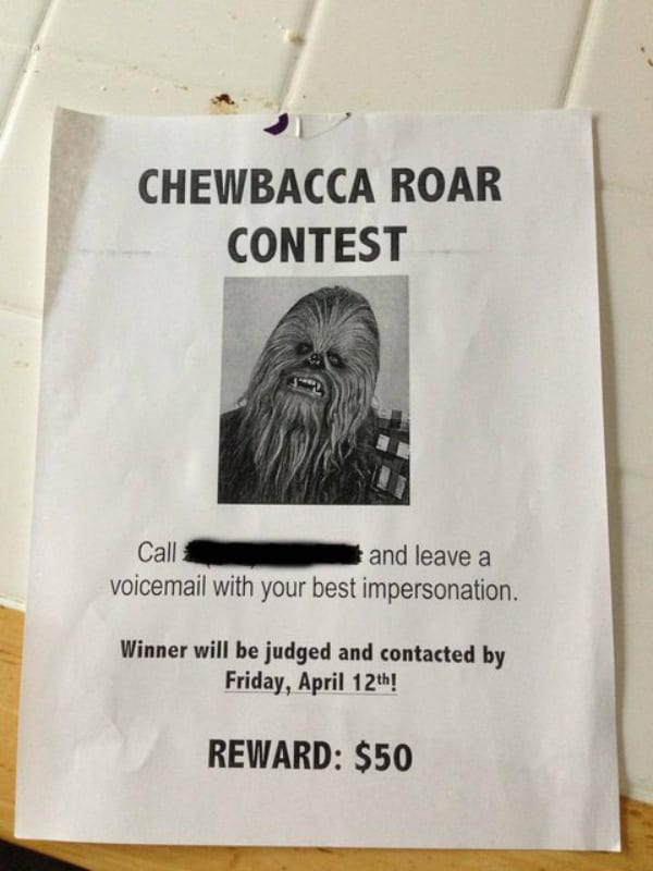 chewbacca roar contest pranks