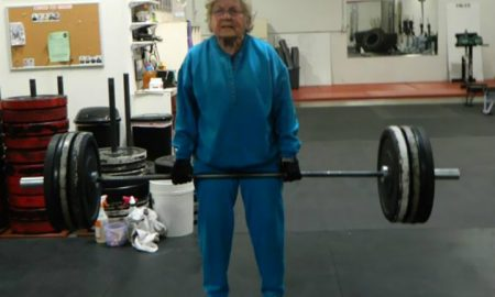 weight lifting gramma gym moments