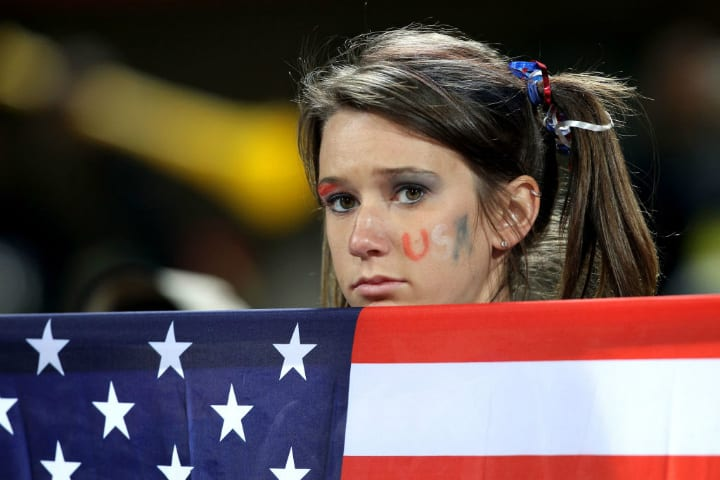 American flag sad girl