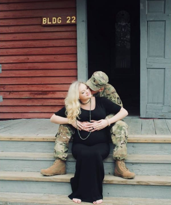 crying soldier and wife