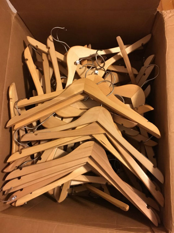 wooden hangers household items using wrong