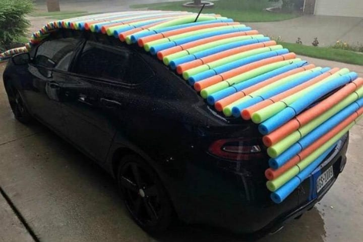 Hail protection pool noodle hacks
