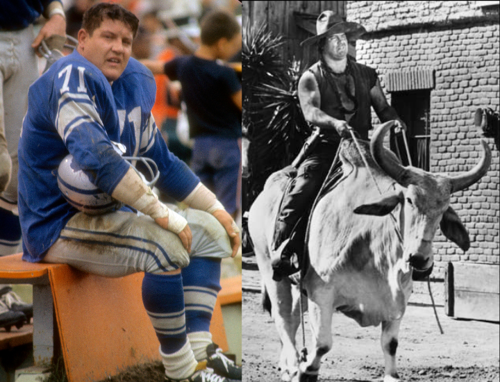 DETROIT, MI - CIRCA 1962: Alex Karras #71 of the Detroit Lions watches the action from the bench during an NFL football game at Tiger Stadium circa 1962 in Detroit, Michigan. Karras played for Lions from 1959-62 and 1964-70 next to images of Alex Karras in Blazing Saddles
