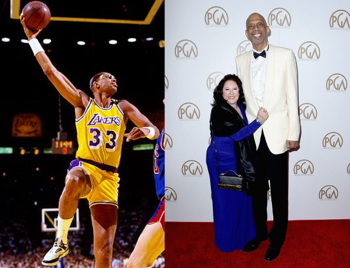 Kareem Abdul-Jabar about to dunk in the NBA//CENTURY CITY, CA - JANUARY 23: (R) Former NBA player Kareem Abdul-Jabbar attends the 27th Annual Producers Guild Awards at the Hyatt Regency Century Plaza on January 23, 2016 in Century City, California.