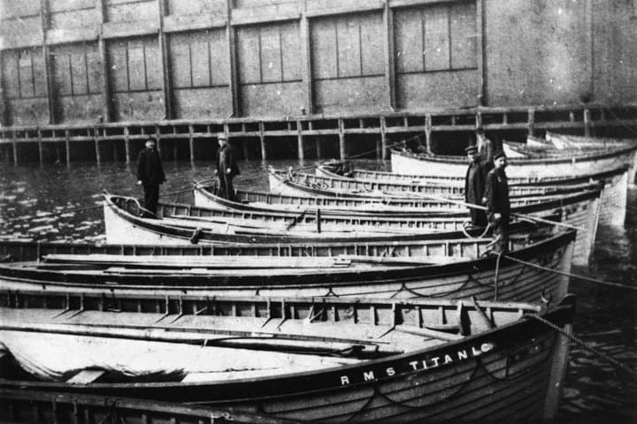 Lifeboats aboard the Titanic