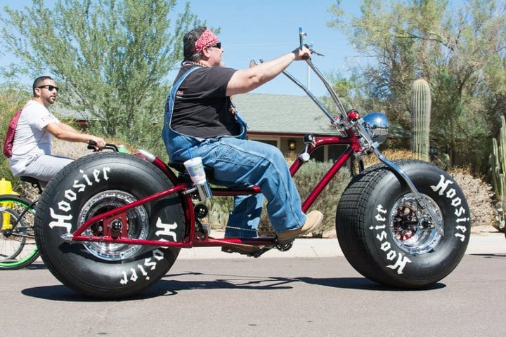 Overweight Arizona man on motorbike