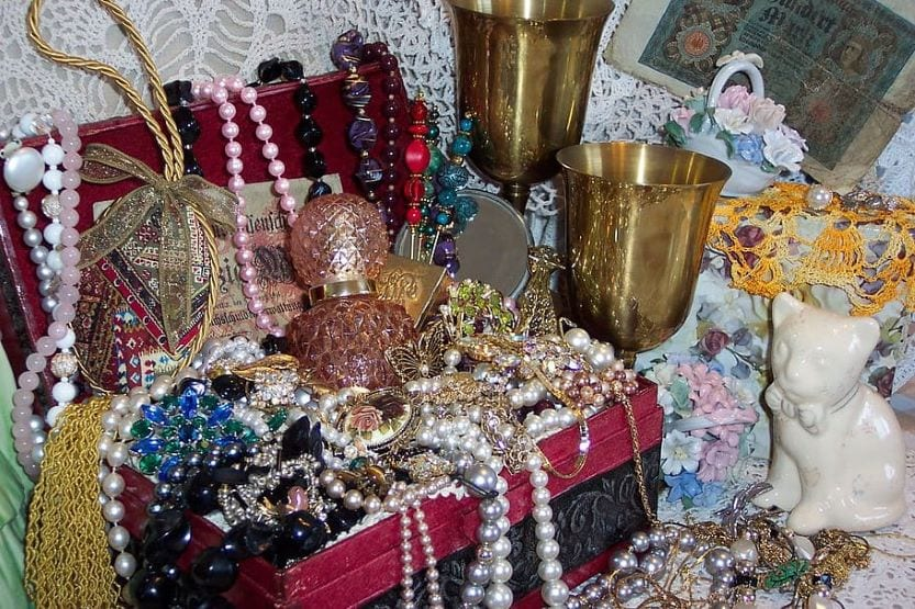 Treasure box full of jewels and necklaces