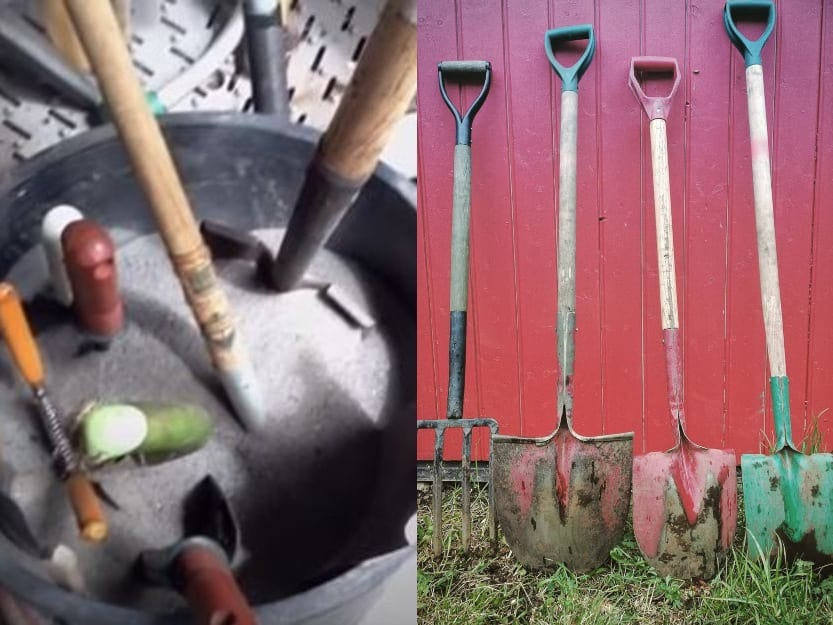 home gardening shovels in rust