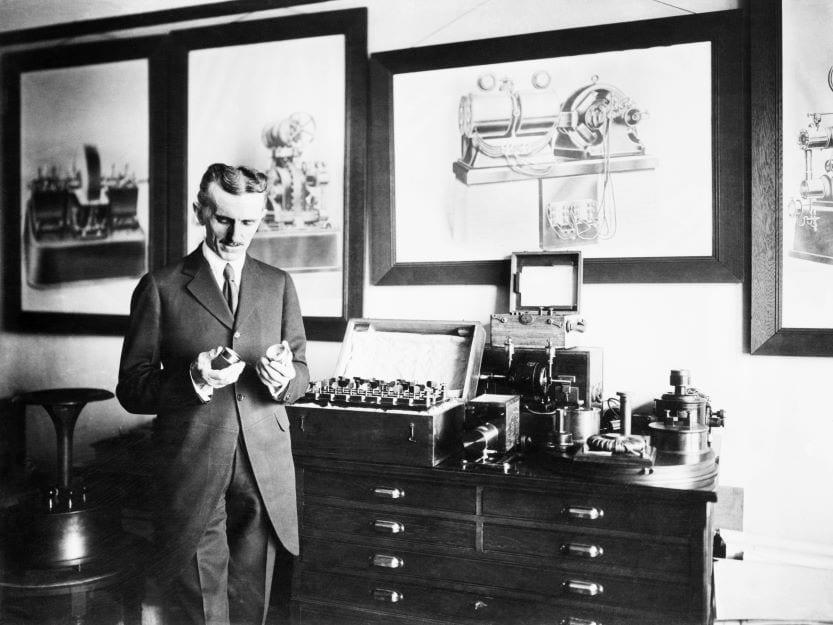 Nikola Tesla in lab everyday items