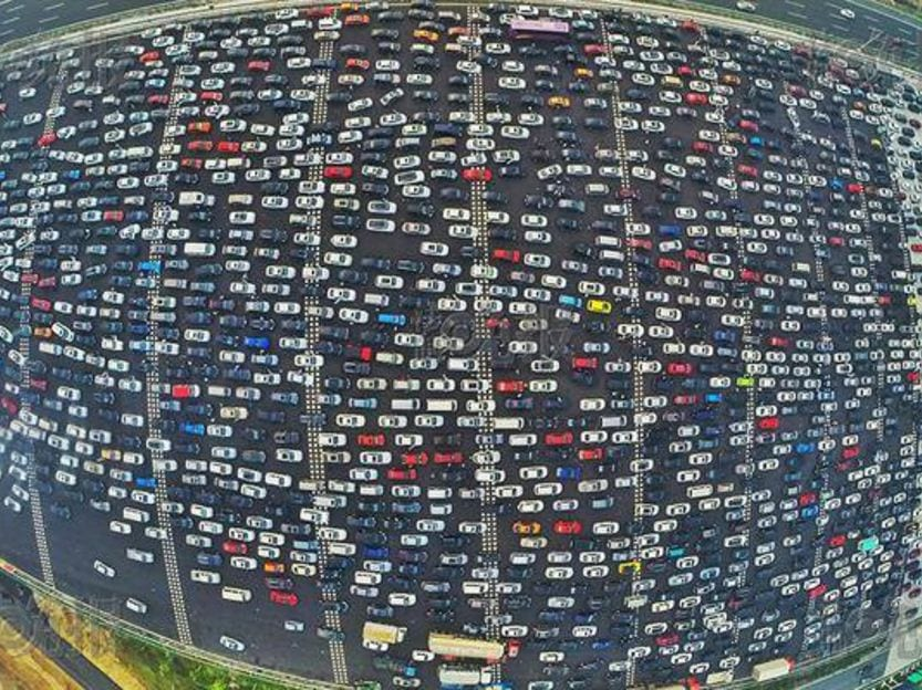 China 50 lane highway school commutes