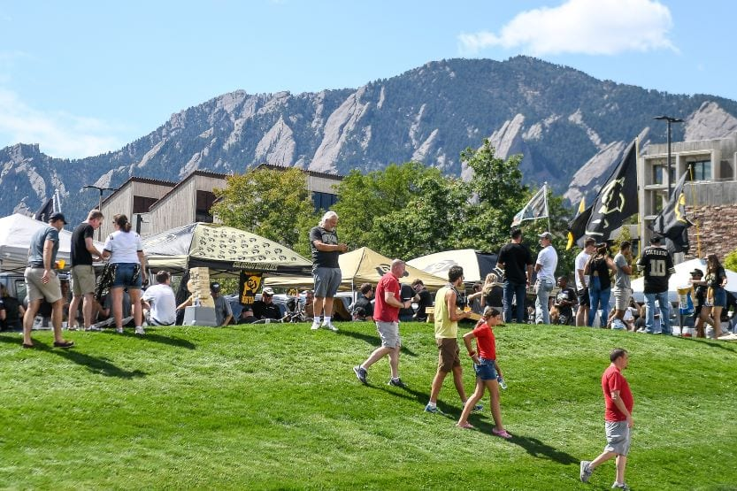 Students tailgating at CU Boulder