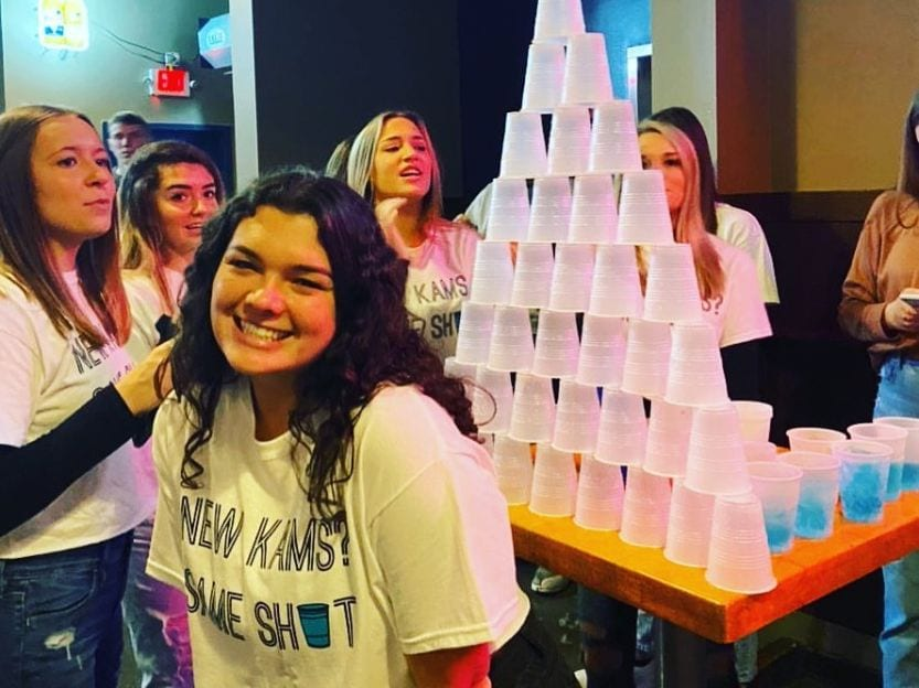 cup pyramid at University of Illinois bar
