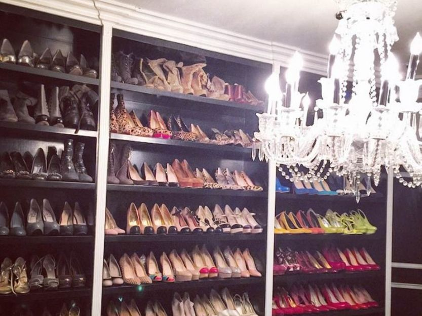 Inside show closet with chandelier