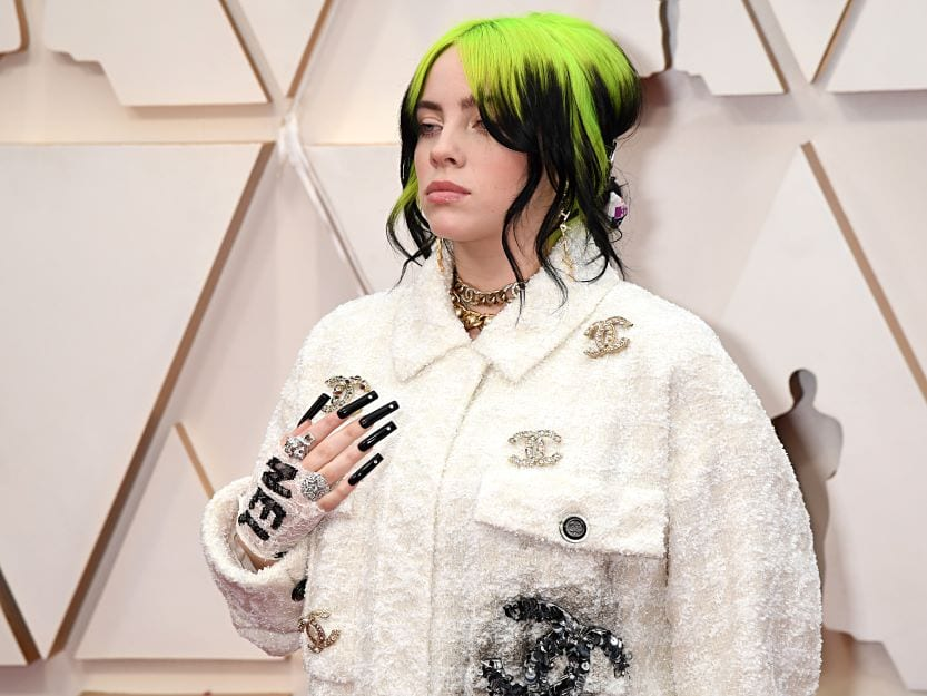 Billie Eilish sporting black nail polish