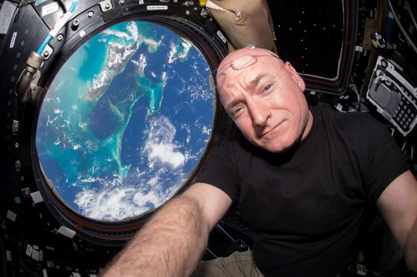 Astronaut viewing Earth from outer space