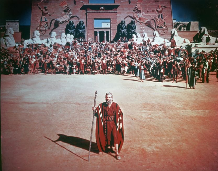 Charles Heston as Moses on set of Ten Commandments