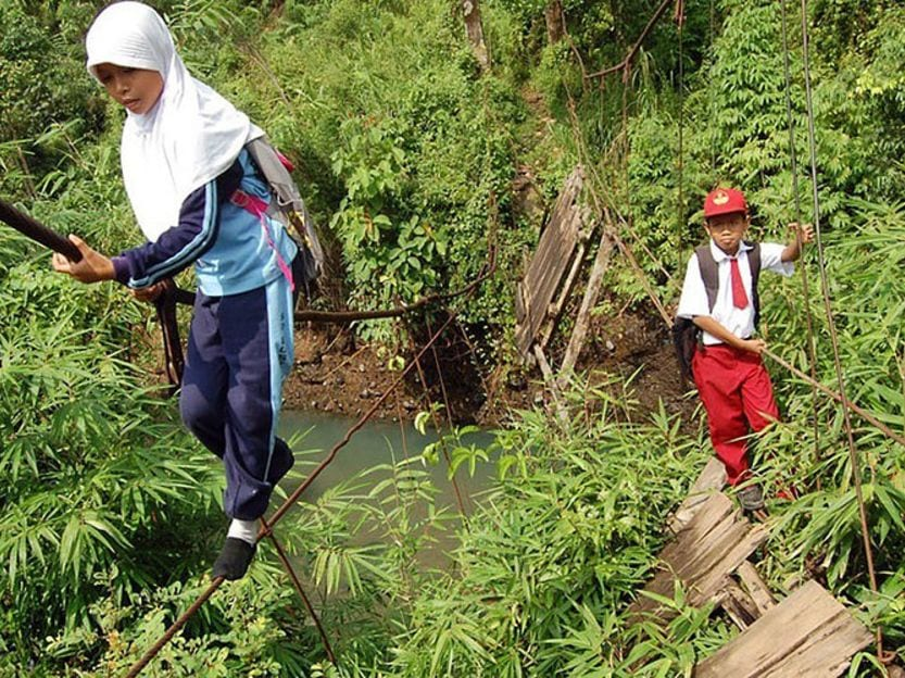 River Tightrope Indonesia school commutes