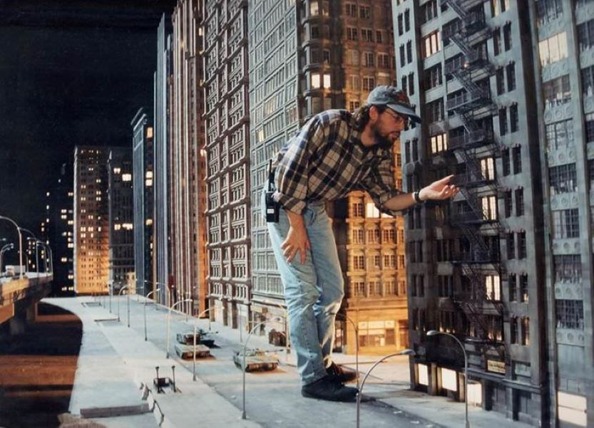 Building set for Godzilla, one of the most expensive movie sets