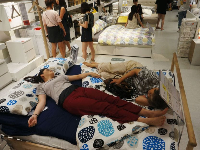Ikea Stores sleeping in beds